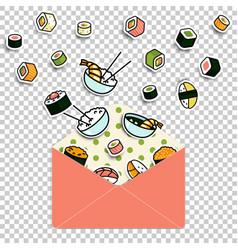 meal rolls sushi set in paper mail envelope vector image