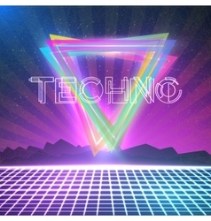 Abstract Techno 1980s Style Background with vector image vector image