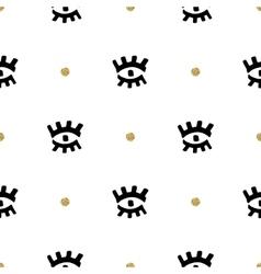 Creative seamless pattern eyes hand-drawn black vector image