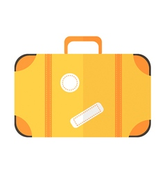 Flat design yellow suitcase icon vector image