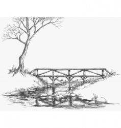 river bridge sketch vector image vector image