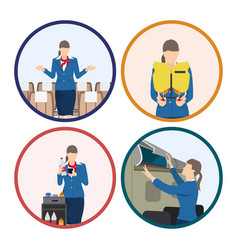 stewardess serves passengers on the airplane vector image