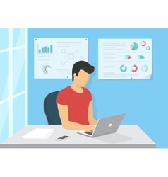 Young man sitting in the office at work desk and vector image vector image