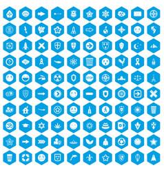 100 emblem icons set blue vector