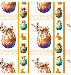 A seamless template with eggs and bunnies vector image