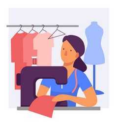a woman dressmaker at a sewing machine flat vector image