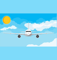 Airplane front view in sky with clouds and sun vector