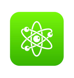 atom with electrons icon digital green vector image