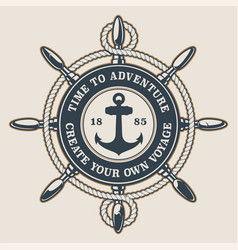 Badge with ships wheel and anchor vector