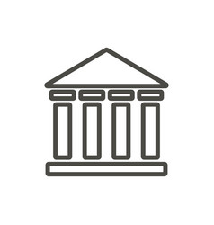 bank icon outline institute building line vector image