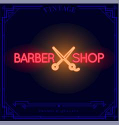 Barber shop neon light sign vector