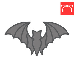 Bat color line icon halloween and scary bat sign vector