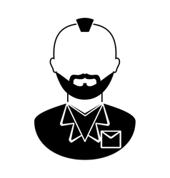 bearded man with mohawk icon image vector image