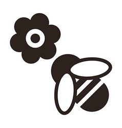Bee and flower icon vector image vector image