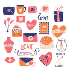 Big collection love objects and symbols vector
