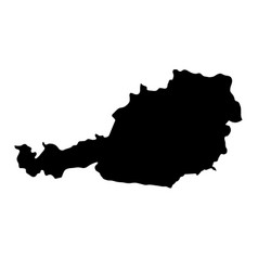 black silhouette country borders map of austria vector image