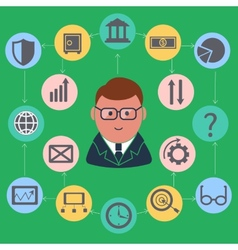 Businessman surrounded finance activities icons vector image