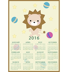 Calendar for 2016 with cartoon and funny lion toy vector image
