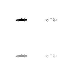 car black and grey set icon vector image