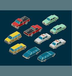 cars isometric mini set vector image