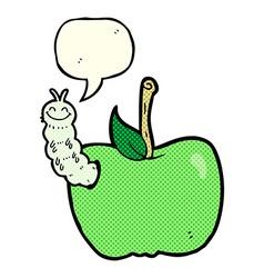 Cartoon apple with bug with speech bubble vector