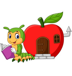 cartoon funny caterpillar reading book vector image