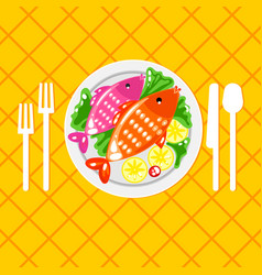 cartoone fish dish vector image