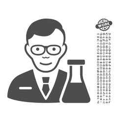 Chemist icon with bonus vector