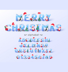 christmas font and alphabet 3d ice letters vector image