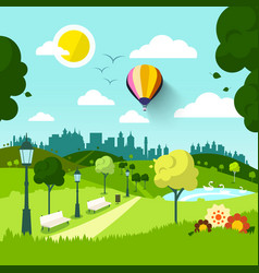 city park nature landscape green natural scene vector image
