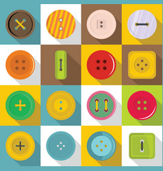 Clothes button icons set flat style vector