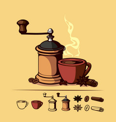 Coffee set with a cup and a coffee grinder vector