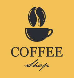coffee shop logo with a hipster vintage style vector image