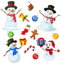 collection cute christmas element set vector image