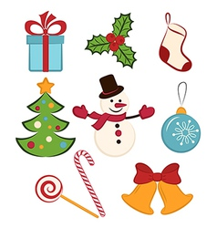 Collection of color Christmas icons or objects vector image