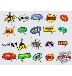 Comic sale explosion icons vector image