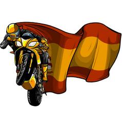 cornering motorbike racer with spain flag vector image