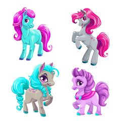Cute cartoon little horses set vector