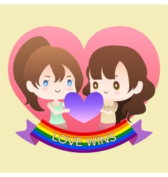 Cute cartoon or mascot lesbian woman lover in vector