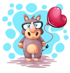 cute funny pretty rhino with balloon vector image