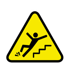 Danger sign of a person falling down the stairs vector