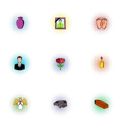 Death of person icons set pop-art style vector