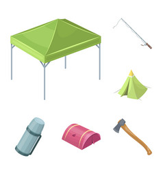 Different kinds of tents cartoon icons in set vector