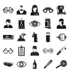 Doctor eye examination icons set simple style vector