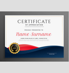 Elegant blue and red diploma certificate template vector
