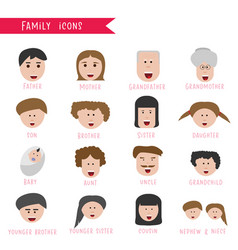 family icons cartoon icons collection vector image