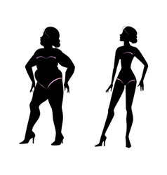 Fat woman and slender woman silhouettes vector