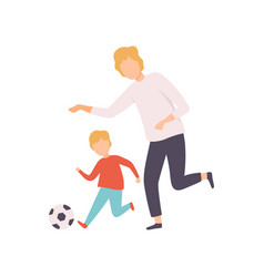father and son playing soccer happy family vector image