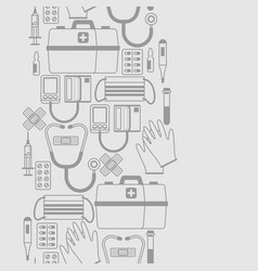first aid kit equipment seamless pattern vector image