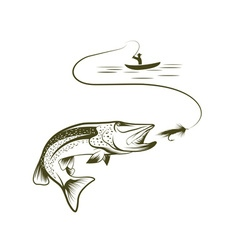 fisherman in a boat and pike vector image